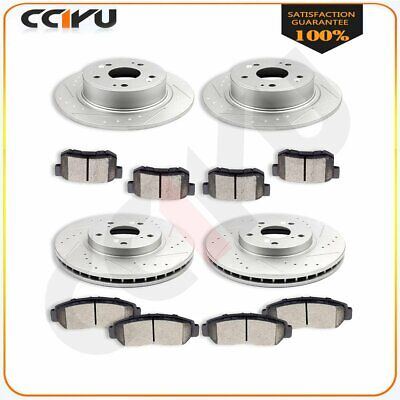 FOR 2009-2010 Acura TSX  Front+Rear Drilled Slotted Brake Rotors Ceramic Pads