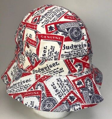 Vtg Budweiser Beer Breweria Print Bucket Hat Fishing Cap, Size Large USA Made