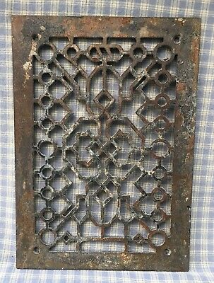 """Cast Iron Victorian Style Grate Heating Ventilation Duct Intake 13-5/8x9-11/16"""""""