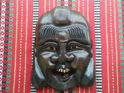 Wooden Mask Hand Carved Statue Vintage Wall Hanging Face Decor Art Sculpture #10