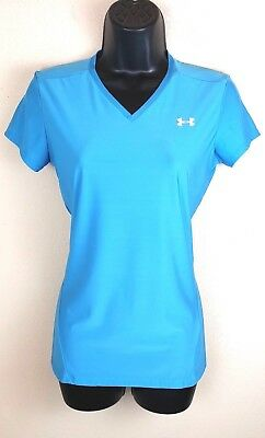 Under Armour Womens Top Tee Shirt Heatgear Compression Fitted Base Blue Size XL
