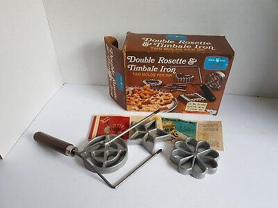 Vintage Double Rosette and Timbale Iron Molds Nordic Ware with Box
