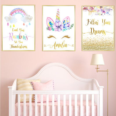 Unicorn Personalised Name Nursery Prints Set, Baby Girl Bedroom Art 3 Pictures