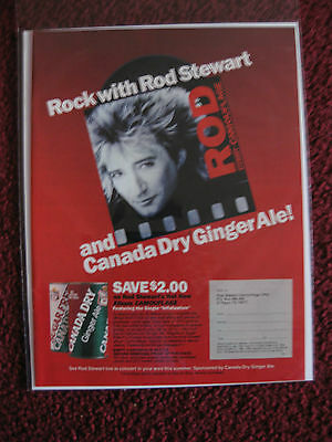 1984 Print Ad Canada Dry Ginger Ale ~ Rock & Roll w Rod Stewart CAMOUFLAGE Album