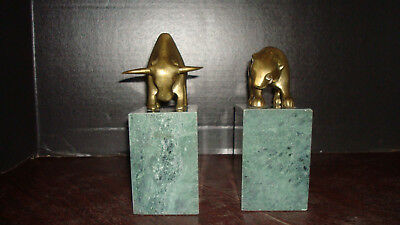 Vintage Bear Bull Bookends Figures Wall Street Stock Broker Brass Marble