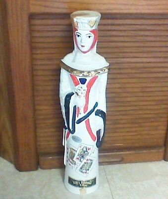 Rare Vintage 1969 Ezra Brooks Queen of Hearts Ceramic Decanter Liquor Bottle