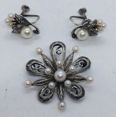Mikimoto Vintage Authentic Sterling Silver & Cultured Pearl Pin & Earrings Set