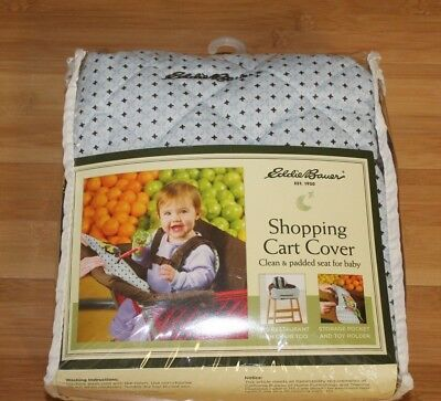 Eddie Bauer Shopping Cart High Chair cover baby padded seat toy pocket blue
