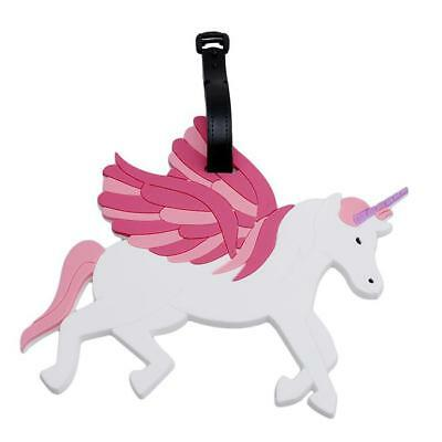 Unicorn Luggage Tags Rubber Labels Travel Holiday Suitcase Girls Childrens SI