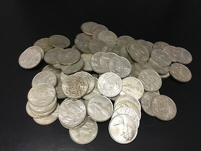 1966 Australian Round 50 cent Coin bulk lot of 100 coins ( High Silver content)