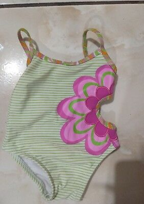 Pink Green Cutout Flower 12 month Sand N surf one piece swim suit green pink