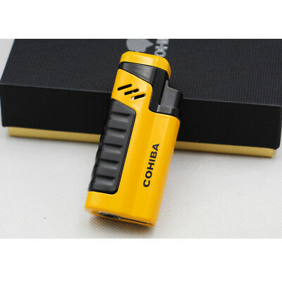 Cohiba Cigar Cigarette Four Torch Jet Flame Yellow Lighter With Punch Metal