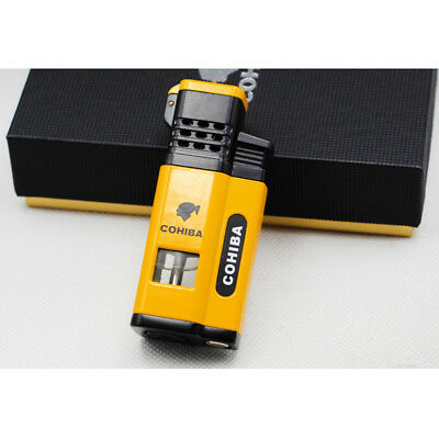 Cohiba Yellow Cigar Cigarette Four Torch Jet Flame Lighter W/Punch Metal