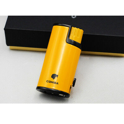 Yellow Cigar Cigarette Metal Lighter 3 Torch Jet Flame W/Punch Cohiba