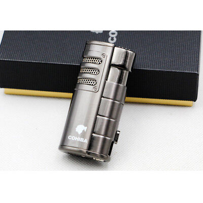 Metal Gray Cigar Cigarette Lighter 3 Torch Jet Flame W/Punch COHIBA
