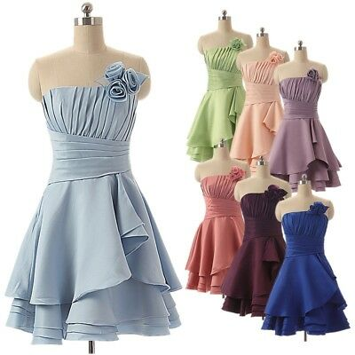 Short Satin Strapless Bows Dance Dress Homecoming Formal Evening Party Ball Gown