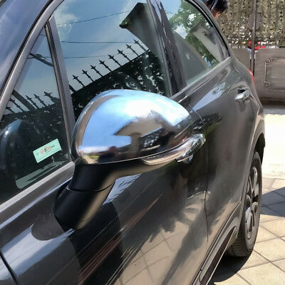 For Fiat 500X 2015-2018 Glossy Chrome Side Mirror Rearview Cap Cover Overlay
