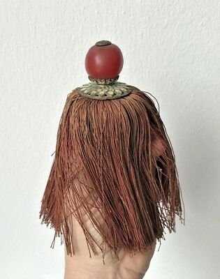 19Th Century China Qing Dynasty Mandarin Court Hat Red Finial Rank Tassel 清官帽红顶珠