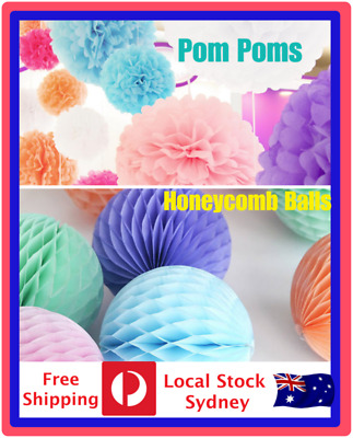 Tissue Paper  Pom Poms Honeycomb Ball Wedding Party Baby Living Room Decoration