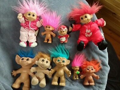 9 Vintage Troll Dolls Including 4 Russ
