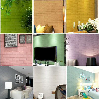 3D Solid Wall Paper Sticker Brick Stone Rustic Effect Self-adhesive Home Decor A