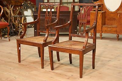 Pair armchairs carved sculpted walnut italian furniture cabinet antique 900 XX