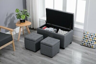 Modern Simple style Space-saving Three-in-one Storage Ottoman Foot Stool Gray