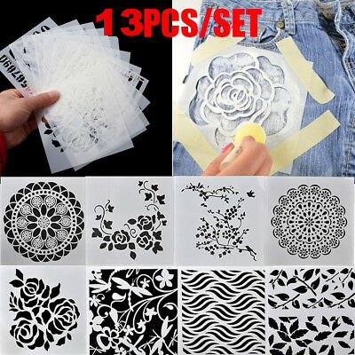 13PCS/SET Craft Embossing Templates Wall Painting Layering Stencils Scrapbooking