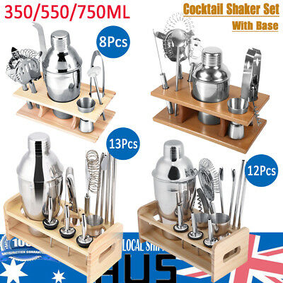 Cocktail Shaker Set Maker Mixer Martini Spirits Bar Strainer Bartender Kit Rack