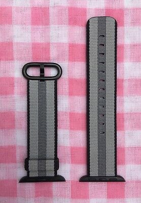 Black 38mm Apple Watch Woven Nylon Band (Genuine/Authentic/OEM, gray stripe) NEW