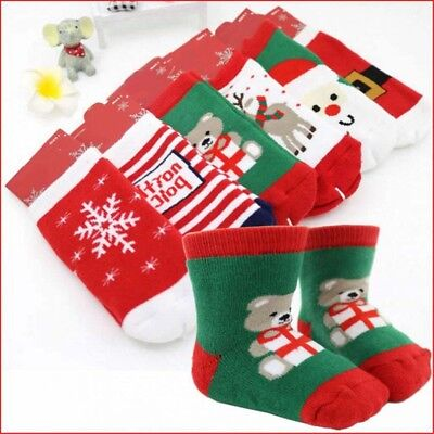 Kids Baby Christmas Warm Slipper Socks Funny Stocking Filler Gift Boys Girls
