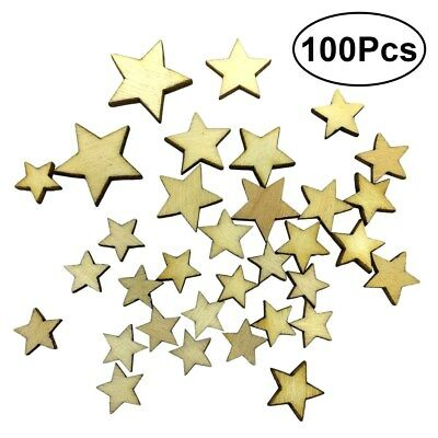 100x Blank Star Wooden Craft Mixed Sizes 10-40mm Scrapbooking Ply Embellishment