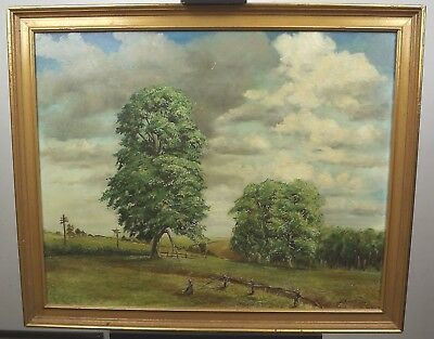 Vintage Large Framed Oil on Board Painting Picture of Trees by Peter George 1970