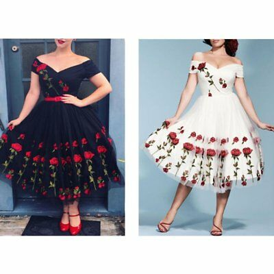 Womens Vintage 50s Rose Embroidery Lace Off Shoulder Ladies Evening Party Dress