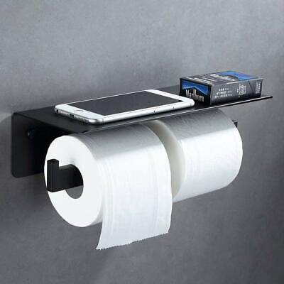 Double Toilet Paper Holder Black Paper Tissue Holder Wall Mounted