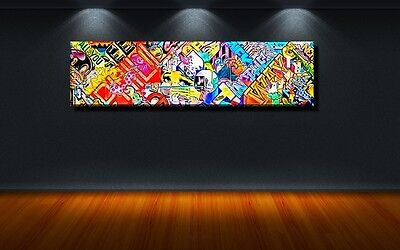 leinwand bild xxl pop art graffiti abstrakt mauer wand bunt zeichen kunst 150x40 eur 159 00. Black Bedroom Furniture Sets. Home Design Ideas