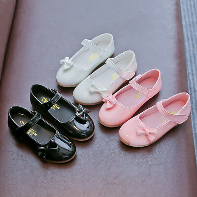 Toddler Baby Sneakers Children Studern Girls Bowknot Leather Princess Shoes UK