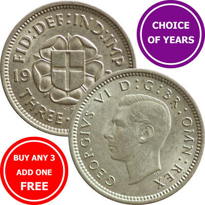 SILVER Threepence : 1937-1944 : George VI : 3d Coin : Choose Year