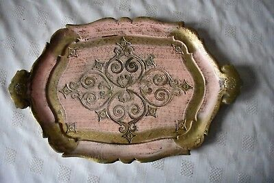 NICE PINK & GOLD FLORENTINE PAPIER MACHE DRINKS SERVING TRAY 35.5cmX22.5cm ITALY
