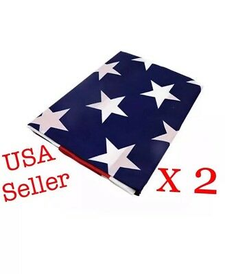 USA American Flag with Brass Grommets 3x5 feet - 2 pack America Patriotism Pride