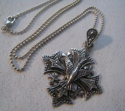 Vintage 900 Silver Jerusalem Crusader Cross With Eagle Pendant Silver Bead Chain