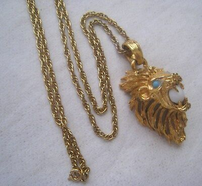 Vintage Lion Head With Large Mane Holding Faux Gemstone Pendant Necklace