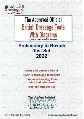 2018 2019 INTRO PRELIMINARY NOVICE Dressage Test Set with Diagrams A4 Laminated