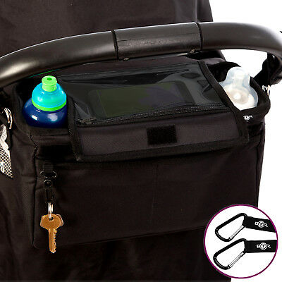 BTR Extra Deep Buggy Organiser Pram Bag PLUS Pram Clips & Mobile Phone Pocket