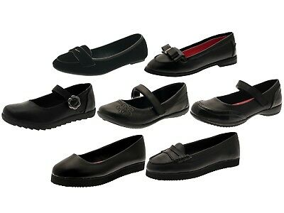 Girls Black School Shoes Mary Jane / Slip On Faux Leather Junior Kids Size