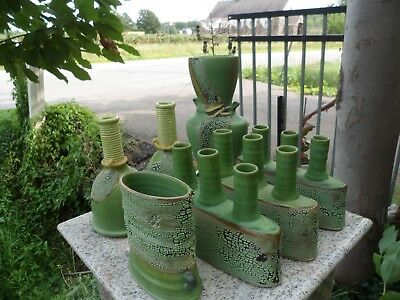 LOT of 7 SIGNED LM MID CENTURY MODERN MCM STUDIO Green ART POTTERY CANDLE VASE