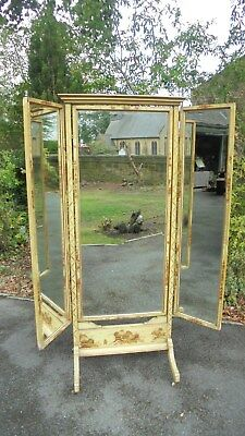 Antique Chinoiserie Lacquered Triple Plated Cheval Mirror Tailors Drapers