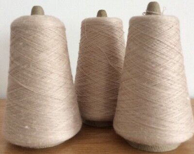 2 Ply Machine Knitting Wool 3 Cones In Beige