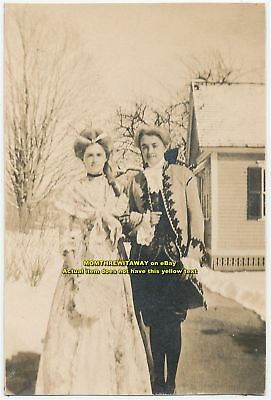 1908 Photo Wheaton College Norton MA 2 Women Costumes Washington's Birthday