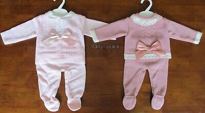 Baby Girls Knitted Spanish Style Pram Set Dusky Pink 2 Piece Outfit 0-3 3-6M